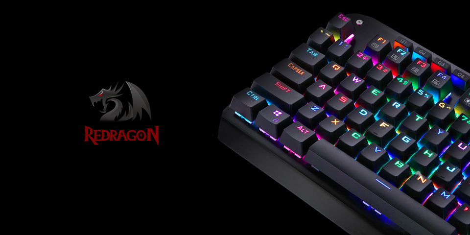 Redragon K555 Gaming Mechanical USB Keyboard with Blue Switches and Wrist  Rest, 104 Key RGB LED Illuminated Backlit Computer Keyboard with Macro Keys