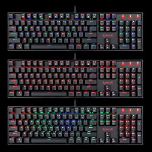Redragon K551-RGB Mechanical Gaming Keyboard with Cherry MX Blue Switches  Vara 104 Keys Numpad Tactile USB Wired Computer Keyboard Steel Construction
