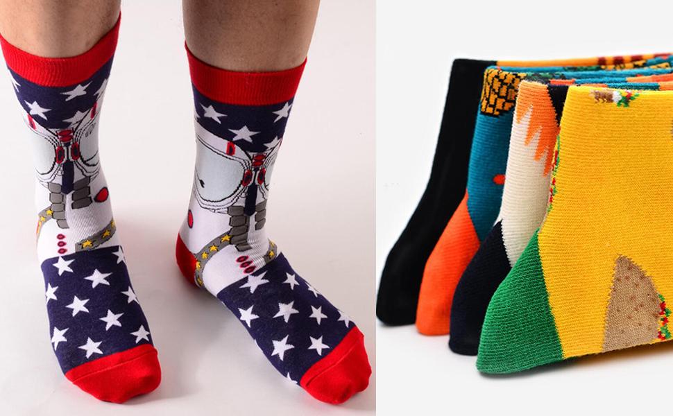 Colorido Novedad Dise/ño Divertido Peinada Algod/ón Crew Pack de Calcetines Unisex YANGTE Calcetines de Vestir para Hombre