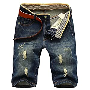QZH.DUAO Mens Distressed Ripped Denim Shorts with Holes