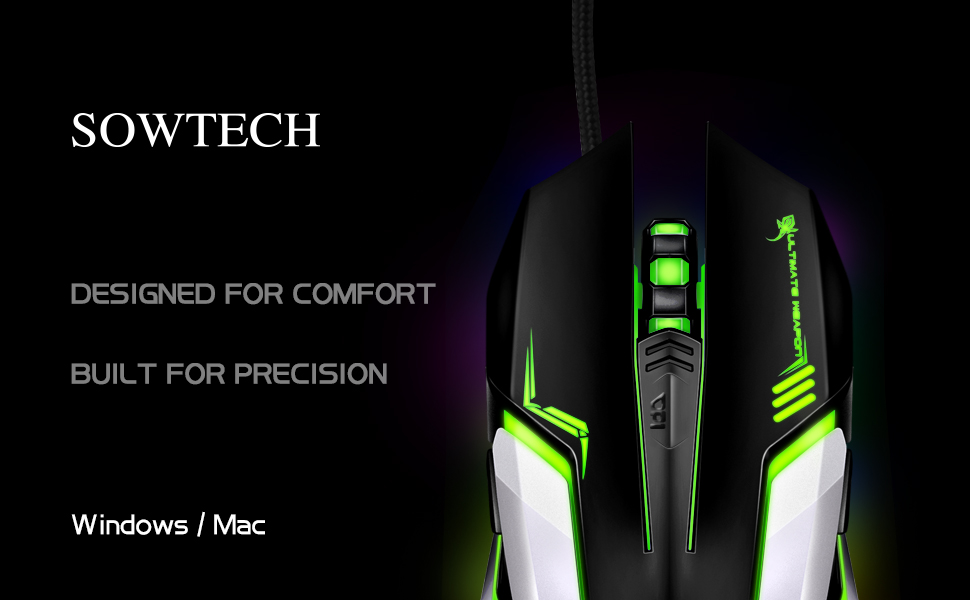 SOWTECH PC MAC Linux Gaming Mouse USB Wired Gamer Mice Video Games Accessory