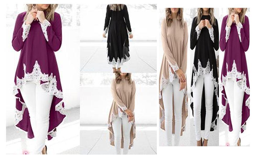 d9158e75b53 DOINSHOP Shirt Dress for Womens Maxi Dresses Solid Ruffle High Low ...