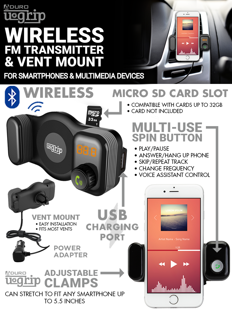 fm transmitter mount