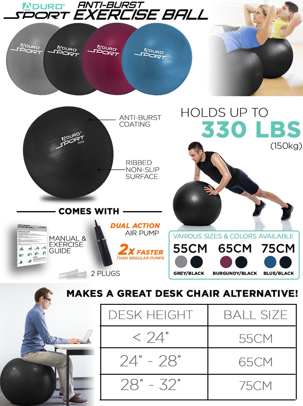 55//65//75 Exercise Yoga Ball Extra Thick Yoga Ball Chair Anti-Burst