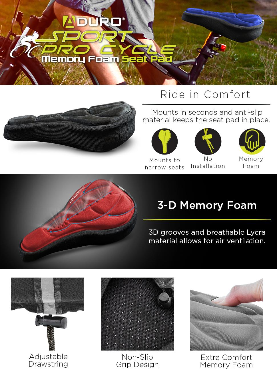 sill/ín c/ómodo transpirable se adapta a bicicletas est/áticas ciclismo interior espuma ancha y coj/ín de gel extra suave para mujeres y hombres VANUODA Coj/ín para asiento de bicicleta