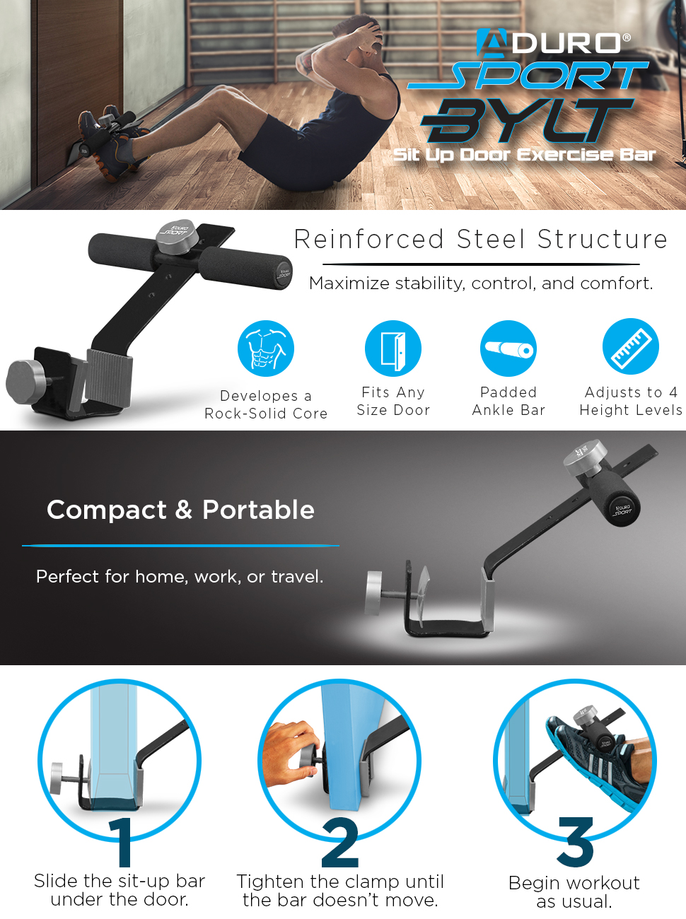 Opti Adjustable Steel Sit Up Doorway Bar