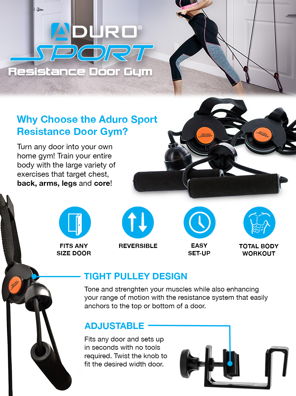 Aduro Sport Door Gym Home Gym Total Body Resistance Training Exercise System Foam Padded Handles Fits Any Door  sc 1 st  Amazon.com & Amazon.com : Aduro Sport Door Gym Home Gym Total Body Resistance ...