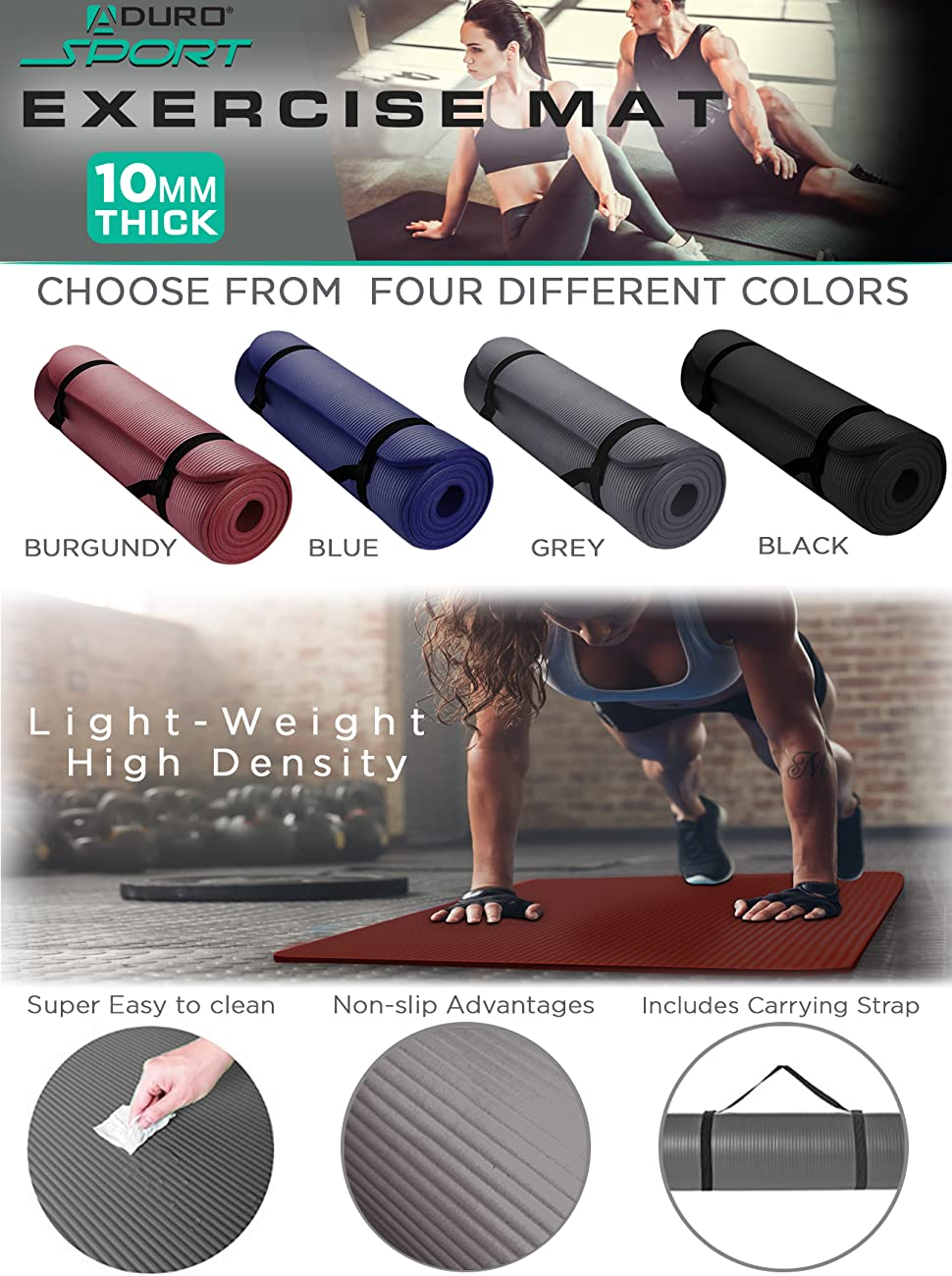Aduro Sport Yoga Workout Mat, 0.39-inch Extra Thick Yoga Foam Mat for Home Gym with Exercise Mat Strap