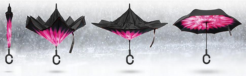 Amazon.com: Paraguas invertido de Elover para la lluvia ...