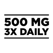 500 mg, 3 times daily