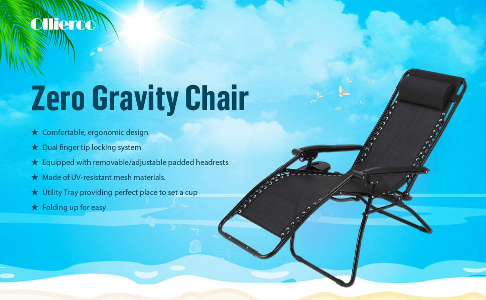Ollieroo 2 Pack Black Zero Gravity Lounge Chair With Pillow And Utility  Tray Adjustable Folding Recliner Outdoor Patio Chair