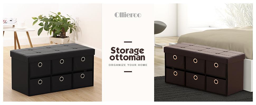 Amazoncom Ollieroo PU Leather Foldable Ottoman Storage Bench Foot