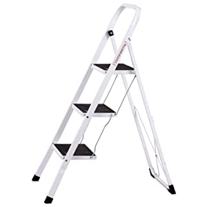 Ollieroo Step Stool En131 Steel Folding 3 Step Ladder With