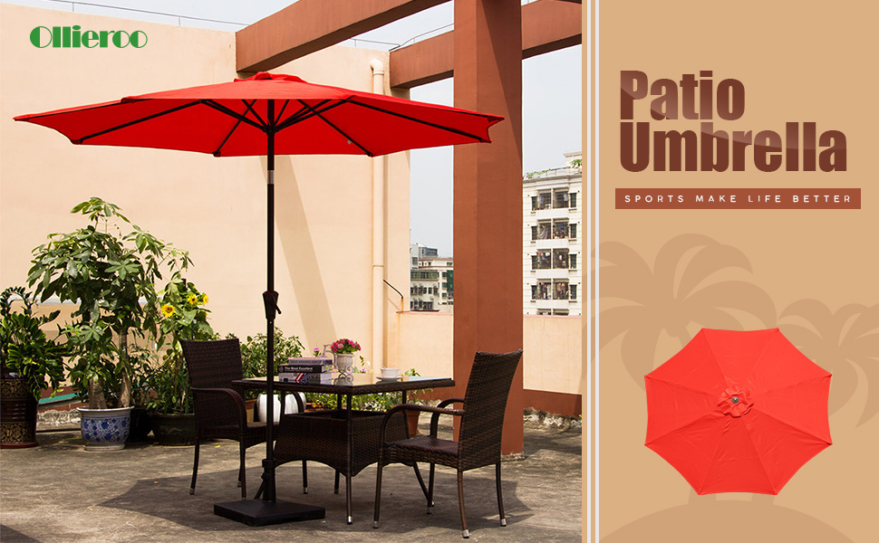 Ollieroo Patio Umbrella Tilt Aluminum 9FT Outdoor Market Umbrella With  Crank 8 Steel Ribs And Wind Vent 100% Polyester Red
