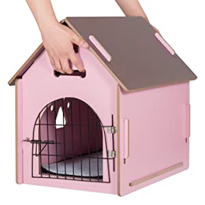 Amazon.com : Ollieroo Dog House Crate Wooden Kennel Indoor