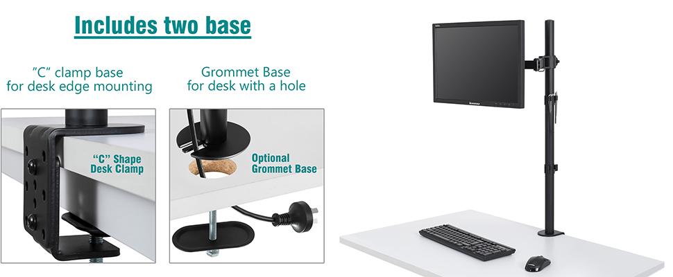Single or Dual Arm Monitor Desk Mount Computer Screen Bracket