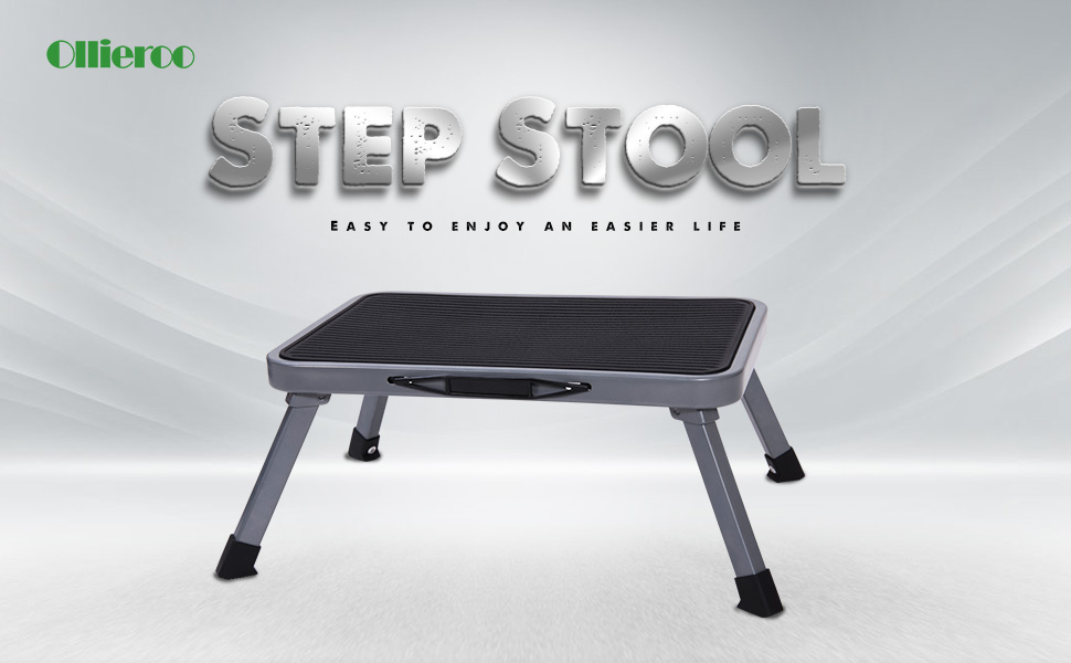 Ollieroo Portable Lightweight Folding Steel Step Stool with Non Skid Rubber Platform One Step 330-Pound Capacity & Amazon.com: Ollieroo Ladder Portable Lightweight Folding Steel ... islam-shia.org