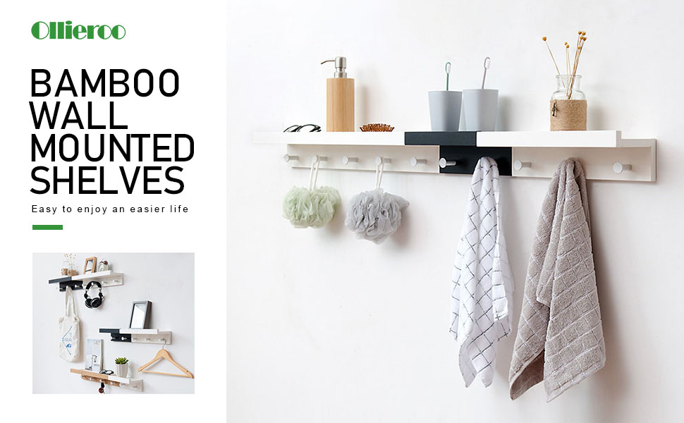 Amazon.com: Ollieroo Bamboo Wall Mounted Shelf, Coat Hooks Rack with ...