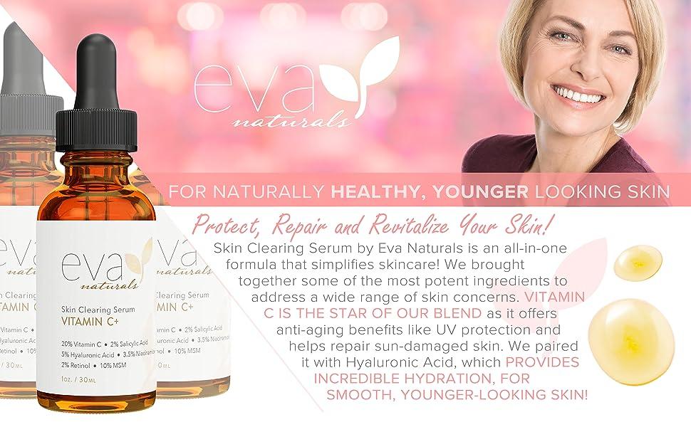 Eva Naturals Vitamin C Plus Serum protect repair revitalize healthy uv protection hyaluronic acid