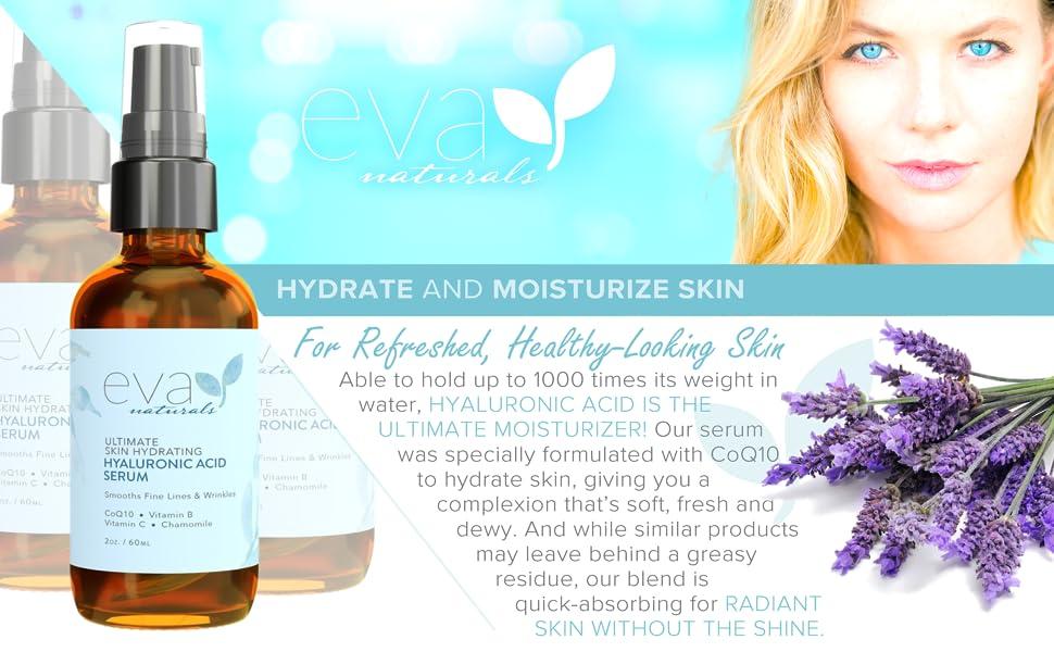 Eva Naturals Hyaluronic Acid Serum moisturizer water CoQ10 hydrate complexion radiant absorbing