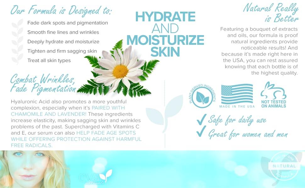 Eva Naturals Hyaluronic Acid Serum pigmentation dark spots hydrate moisturize tighten sagging treat