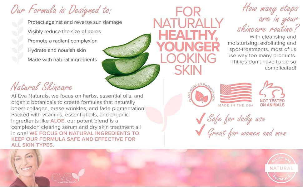 Eva Naturals Vitamin C Plus Serum sun damage pores complexion hydrate nourish natural aloe wrinkles