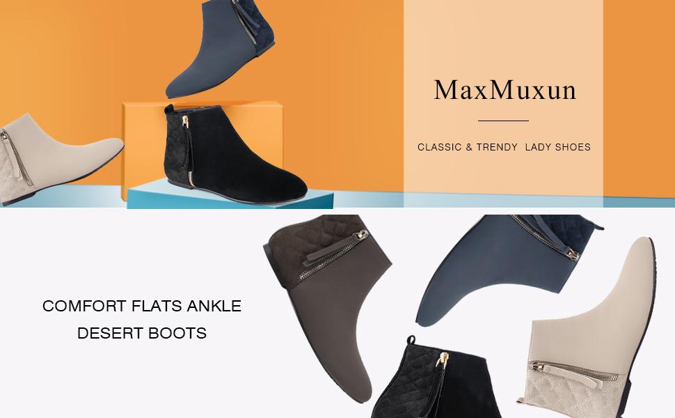 8f36e4d568dc Amazon.com | MaxMuxun Women Shoes Flats Classic Ankle Boots | Ankle ...