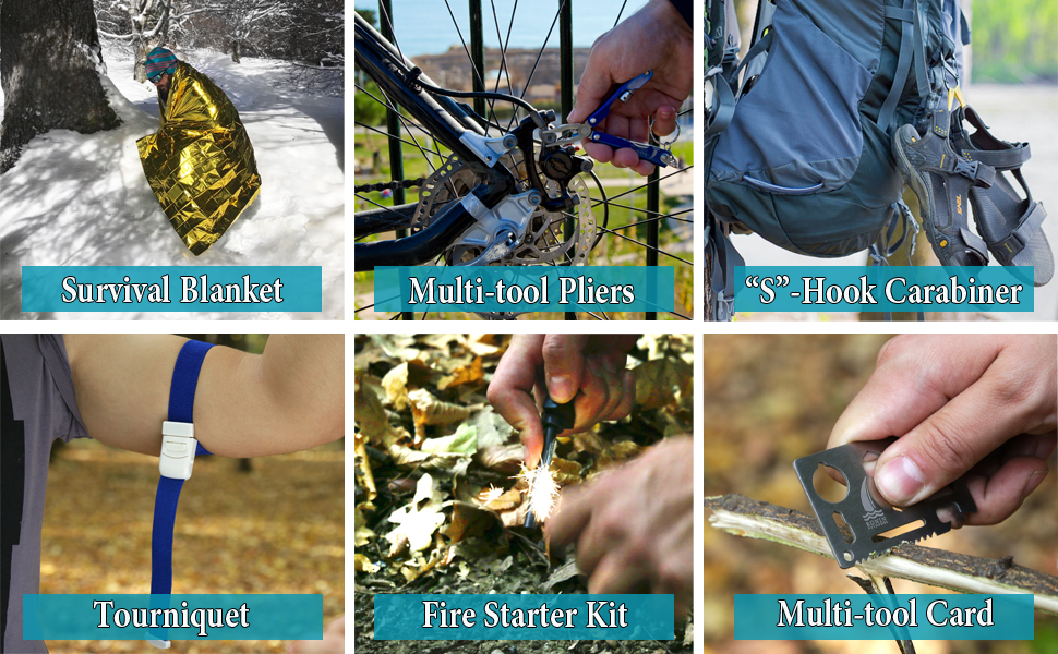 Amazon Com Survival Kit Tactical Camping Gear 14 In 1 Backpack Hiking Outdoor Tools For Men And Women Car Emergency Edc Sos Earthquake Kit Disaster Preparedness Sports Outdoors