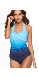 CHERRY CAT 1950s Elegant Plus Size Retro Swimwear Halter Maternity Swimsuit Beachwear
