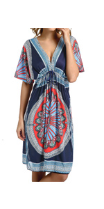 CHERRY CAT Colorful Cut Loose Swimsuit Cover-ups Swim Cover Ups Plus Size Clothing Beach Dress