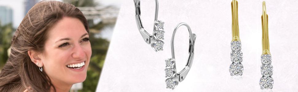 f9cf4e574dfd44 AGS Certified 1/4ct Three Stone Diamond Leverback Earrings in 10K Gold