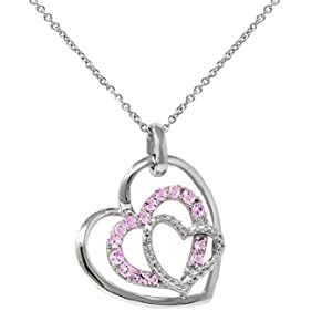 """Sterling Silver Lab Created Pink Sapphire Open Heart Pendant Necklace 18/"""" Chain"""