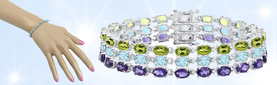 gemstone tennis bracelets in sterling silver