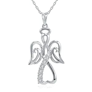 """Winged Angel Open Heart Diamond Pendant-Necklace in Sterling Silver 18"""" Chain"""