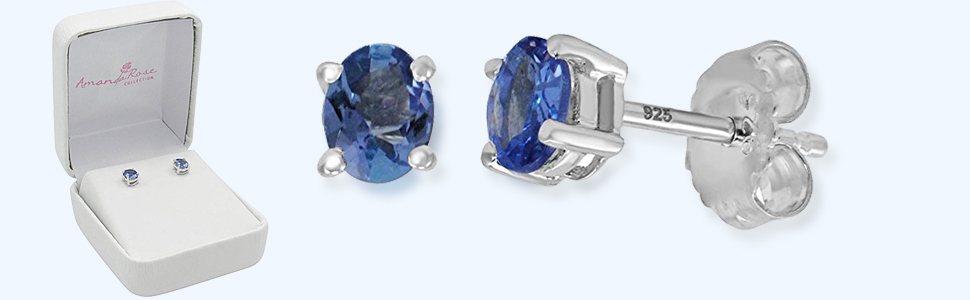 Solitaire Stud Earrings 14K Rose Gold Over .925 Sterling Silver SVC-JEWELS 4.80 CT Round Cut Tanzanite 10MM