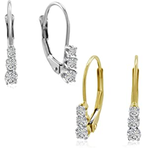 a64ee4b41be50c AGS Certified 1/4ct Three Stone Diamond Leverback Earrings in 10K White or Yellow  Gold