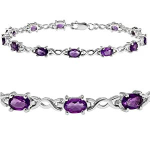 Amazon.com: 5cttw. Amethyst Infinity Tennis Bracelet set