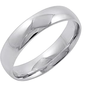 Mens 14K White Gold 5mm Comfort Fit Plain Wedding Band Available