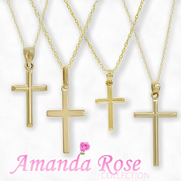 Amazon 10k yellow gold cross pendant necklace on an 18 in 10k yellow gold cross pendant necklace on an 18 in chain aloadofball Image collections