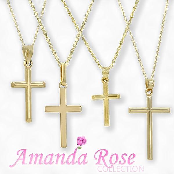 Amazon 14k yellow gold cross pendant necklace on an 18 in 14k yellow gold cross pendant necklace on an 18 in chain aloadofball Choice Image
