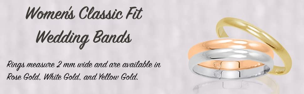 Women's 10K Rose Gold 2mm Classic Fit Plain Wedding Band (Available Ring Sizes 4-8 1/2)