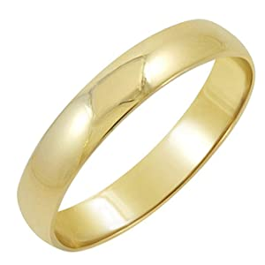 Men's 10K Yellow Gold 4mm Classic Fit Plain Wedding Band (Available Ring Sizes 7-12 1/2)