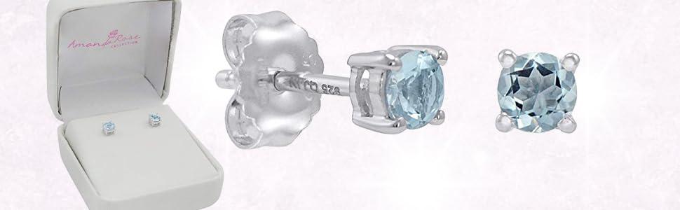 a5e32ac4c Amazon.com: Aquamarine Stud Earrings Set in Sterling Silver (4mm 1 ...