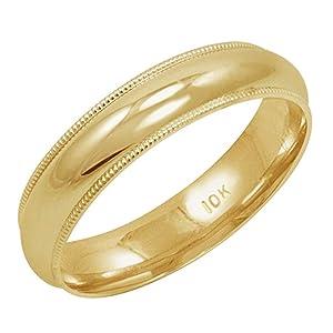 yellow gold milgrain ring