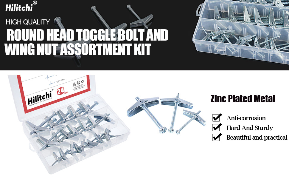 Hilitchi 24-Pcs 1//4 3//16 1//8 Molly and Toggle Bolt Assortment Kit Zinc Plated Steel Philips Round Head Toggle Wing Nut Bolt Set