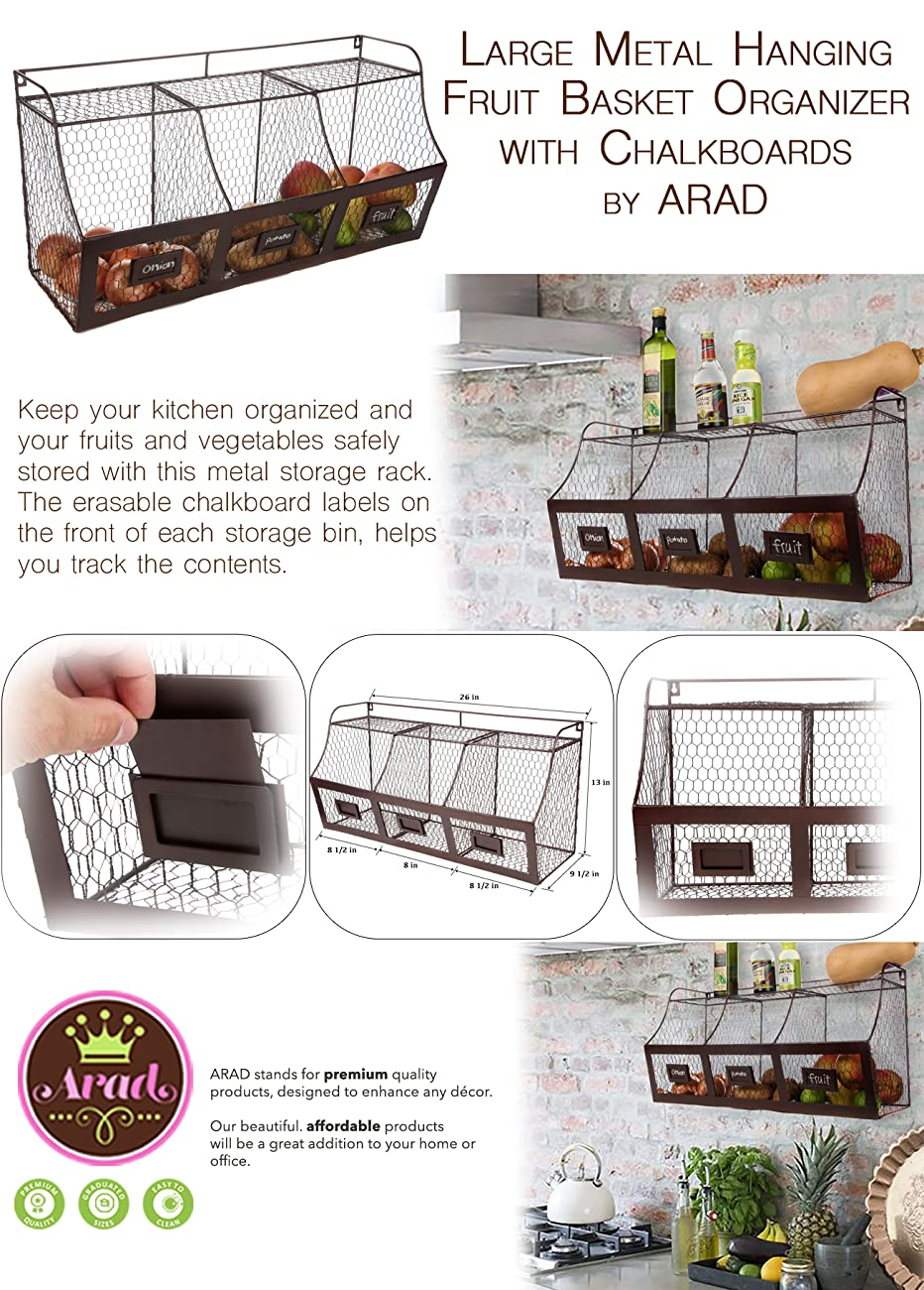 Amazon.com : ARAD Large Rustic Brown Metal Wire Wall Mounted Hanging ...