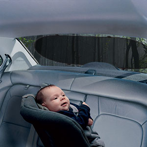 Car Sunshade Stick onto Window with Baby Fastened to Seat