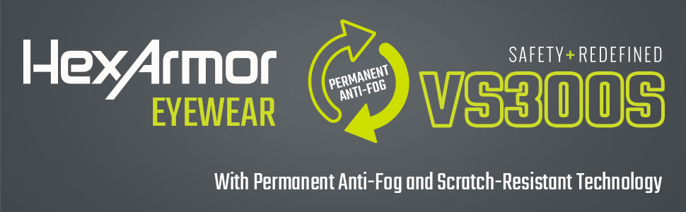 hexarmor eyewear vs300s slim fit permanent anti-fog and scratch resistance