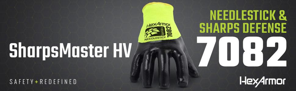hexarmor hv sharpsmaster 7082 needle resistant gloves with three quarter palm coating