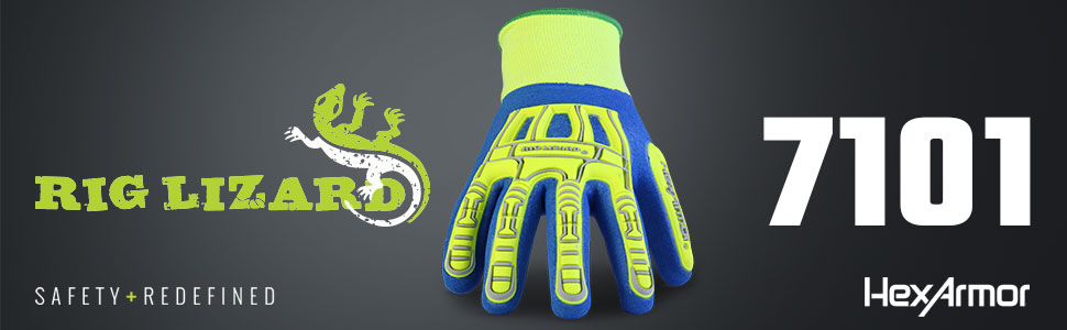 hexarmor rig lizard 7101 fluid/water resistant seamless knit glove with impact protection